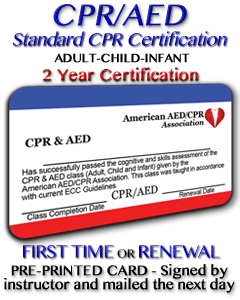 Standard CPR Certification with AED - Includes adult , child and infant.