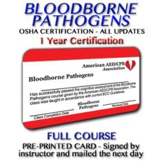 OSHA Bloodborne Pathogens Certification with Instructor Signed Card