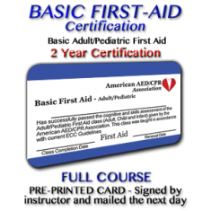 First Aid Training Certification - Instructor signed card