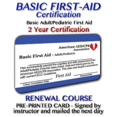 First Aid Renewal Class with Instructor signed card